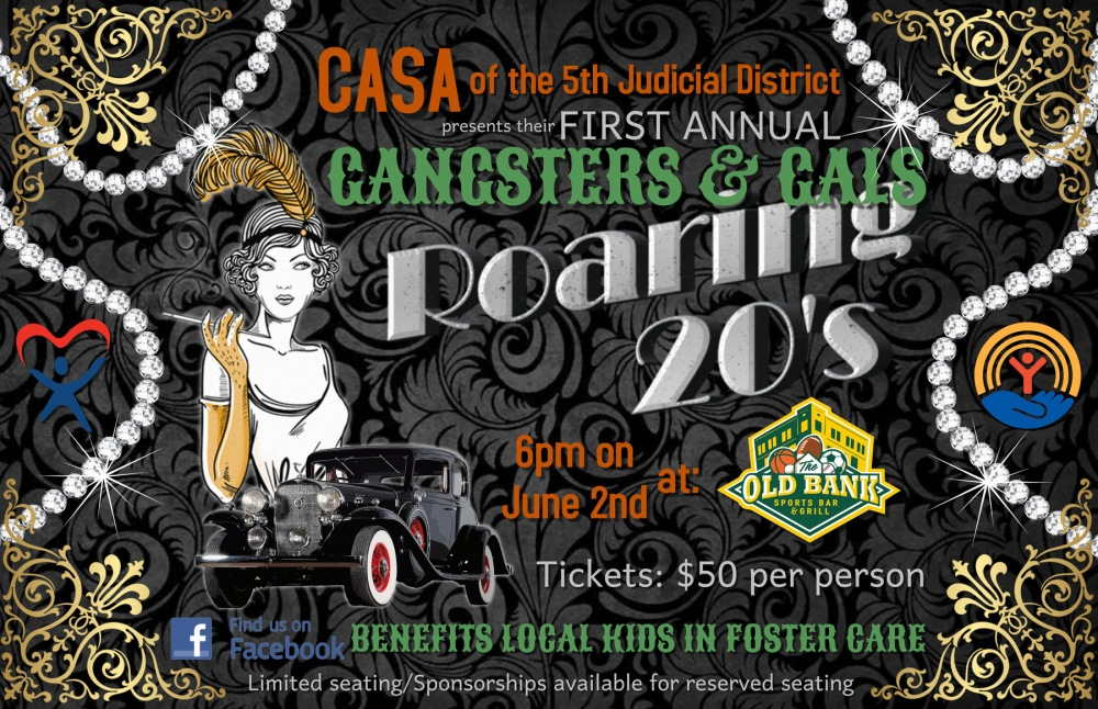 Web Graphic for Social Media of CASA Gangsters and Gals Fundraiser